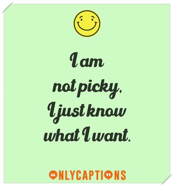 Cool Instagram captions for picky person (attitude)